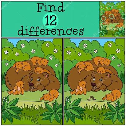 Differences Games Children Daddy Bear Sleeping Vector