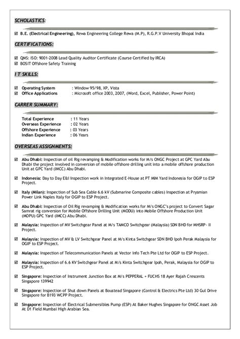 Electrical Instrument Inspector Resume by Lead Inspection Engineer Cv