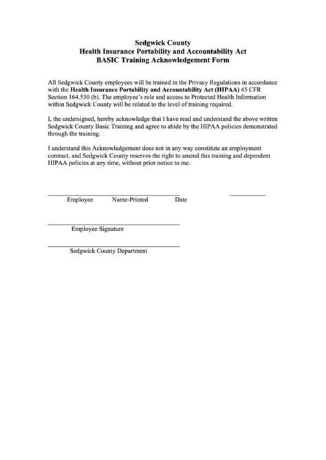 hipaa basic training acknowledgement form printable