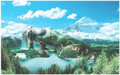 Nature Surreal Landscape Fantasy Backgrounds Mountain