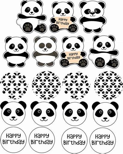 Panda Cupcake Toppers Party Topper Printables Birthday
