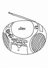 Cd Radio Player Coloring Pages Technology Office Printable sketch template