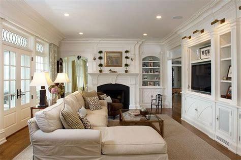 long narrow living room  fireplace   wall