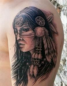 native american tattoos   Native Girl Tattoo On Shoulder ...