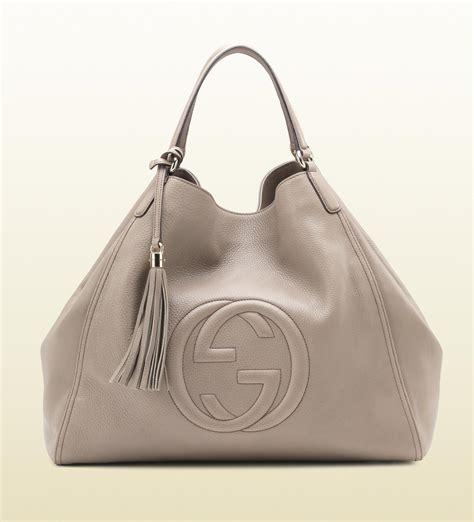 19432ca4a7c3 1480 x 1632 www.lyst.com · Gucci Soho Leather Shoulder Bag in Gray ...