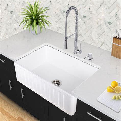 reversible matte white stone farmhouse kitchen sinks