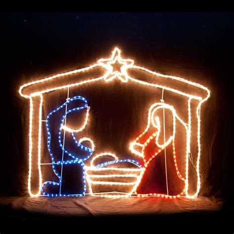 jesus outside christmas lights led nativity motif rope light display