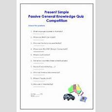 English Worksheets Present Simple Passive General Knowledge Quiz