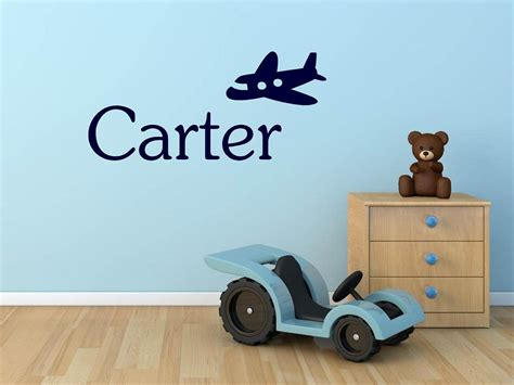 Airplane nursery decor can transform a plain room into a unique and inviting space with just as little as a wall hanging. Custom Name & Airplane Vinyl Wall Art | Home Decor ...
