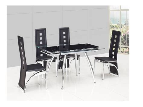 small black extending glass dining table and 4 black chairs
