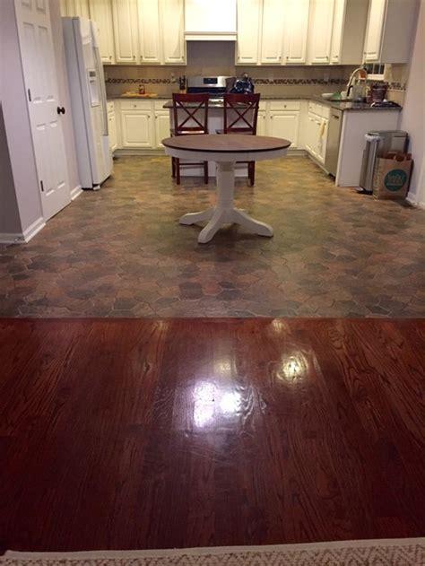 kitchen floor dilemma tile  hardwood