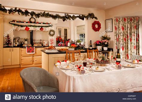 Country Kitchen Diner Set For Christmas Lunch Stock Photo