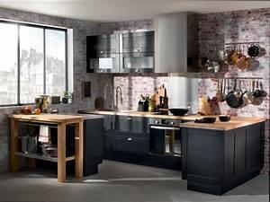 cuisine bois cuisine noir et bois conforama With cuisine noire et bois