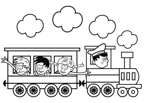 immagini di bambini felici treno e bambini felici pagina di colorin illustrazione