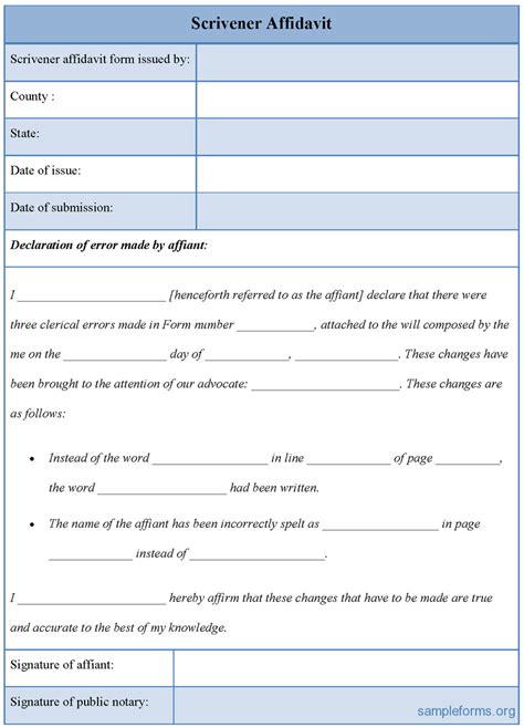 affidavit of template exle of scrivener affidavit form template with table in blue and white color thogati