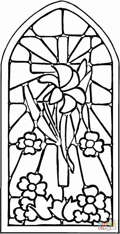 Stained Glass Coloring Window Pages Windows Printable