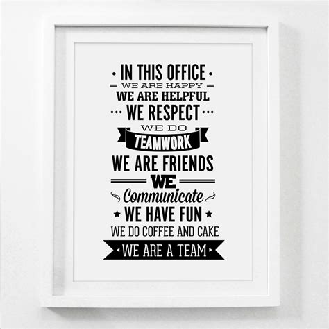bureau citation team office quote canvas painting wall team