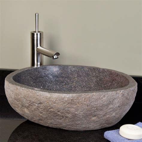Dark Gray River Stone Vessel Sink  Vessel Sinks