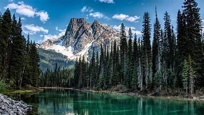 River Mountain Nature Trees Shore 4k Uhd