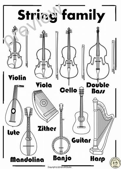 String Instruments Coloring Line Instrument Violin Guitar