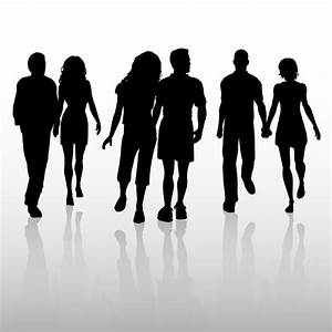 Silhouettes of couples in love walking Vector | Free Download