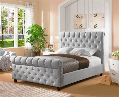 3162 grey upholstered king bed premium chesterfield sleigh upholstered fabric bed frame