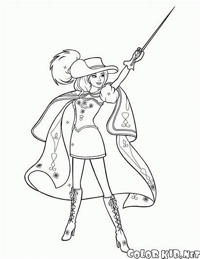 Coloring Musketeer Barbie Musketeers Costume
