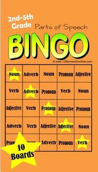 bingo parts  speech game noun verb adverb adjective