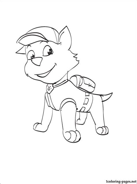 rocky paw patrol coloring page coloring pages