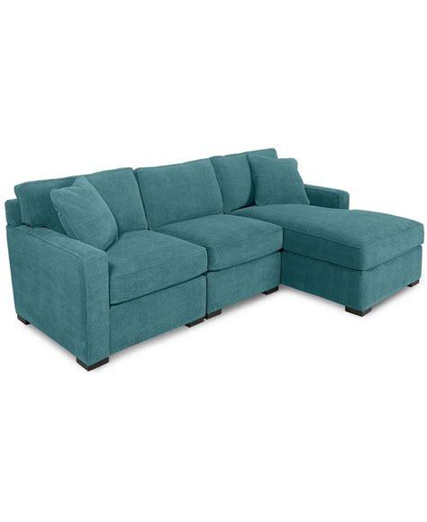 radley 3 piece fabric chaise sectional sofa custom colors
