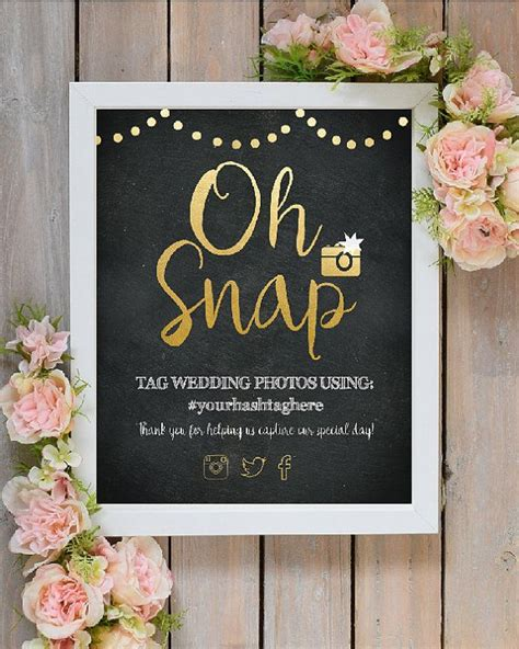 snap wedding instagram hashtag sign printable wedding