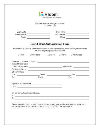 credit card authorization forms hloomcom