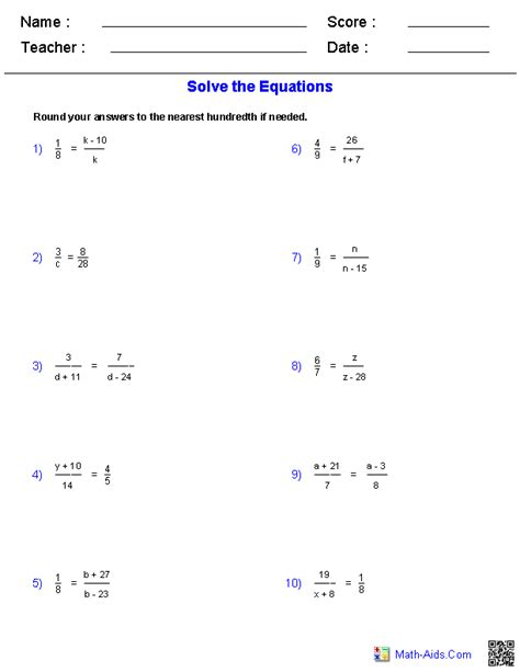 solving proportions equations worksheets math aids