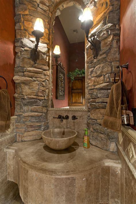 formal powder bath  stone vessel sink man cave