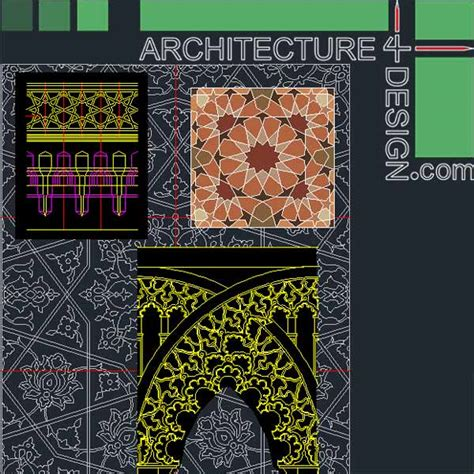 islamic architecture decoration elements  autocad dwg