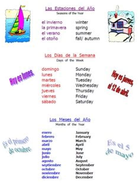 seasons  spanish images spanish learning
