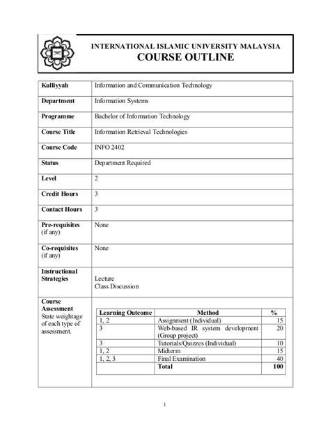 info  information retrieval technologies courseoutline