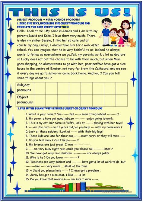 object pronouns english esl worksheets