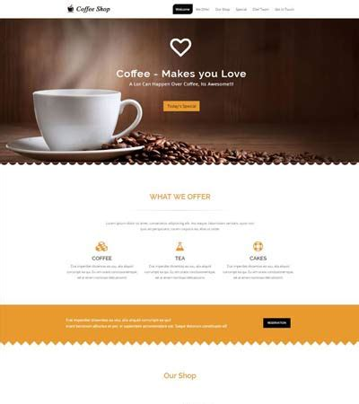 coffee shop website   webthemez