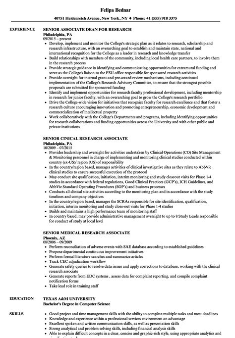 Research Associate Resume by Research Associate Senior Associate Resume Sles