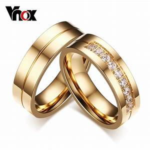 Vnox Trendy Wedding Bands Rings For Love Gold Plated CZ