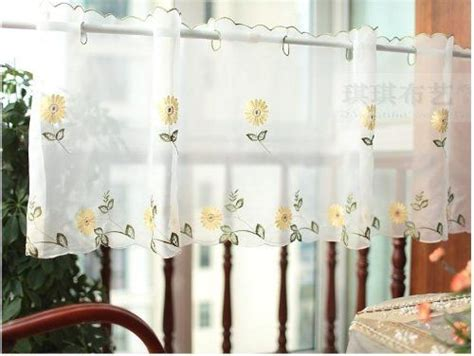 white kitchen curtains with sunflowers white sheer curtain embroidery sunflower half cafe
