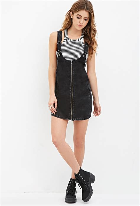 green flare dress lyst forever 21 zipped overall dress in black