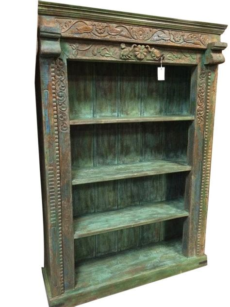 Indian Wood Bookcase by Antique Bookshelf Floral Carved Indian 4 By