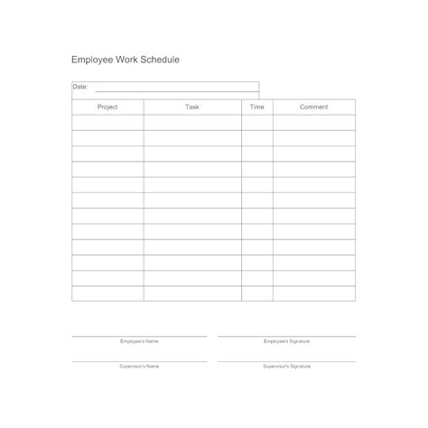 employee work schedule form