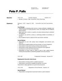 resume professional work experience exles of social work resumes