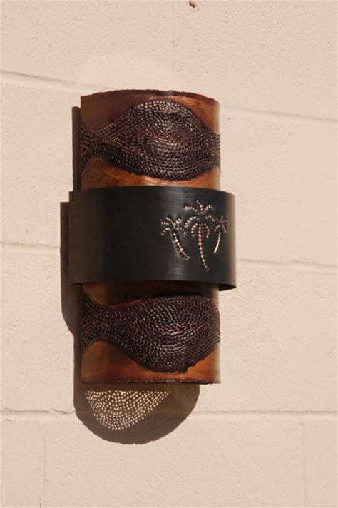 tropical wall sconces copper palm tree sconce tropical by