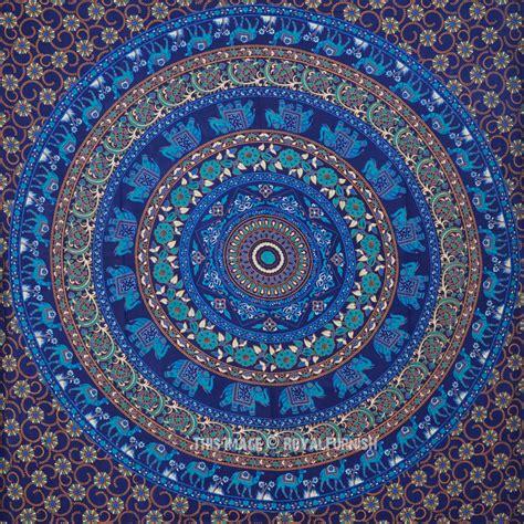 twin blue elephant mandala college medallion indian