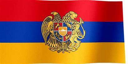 Flag Armenia Coat Arms Waving Country Caucasus