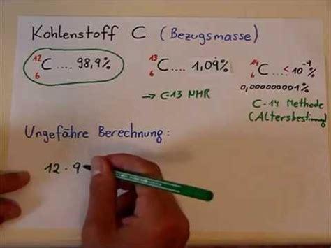 mittlere atommassen bei elementen berechnen youtube